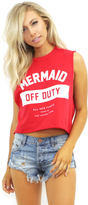 The Laundry Room Mermaid Off Duty Uniform Crop Muscle Tee in Red Hot