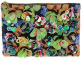 ASOS Zip Top Clutch Bag With Floral Embellishment