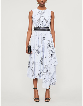Alexander McQueen Abstract-print sleeveless silk midi dress
