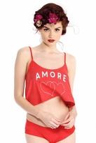 Wildfox Couture Amore Hearts Strappy Crop Cami in Marinara