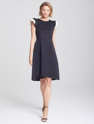 Halston Ruffle Sleeve Dress