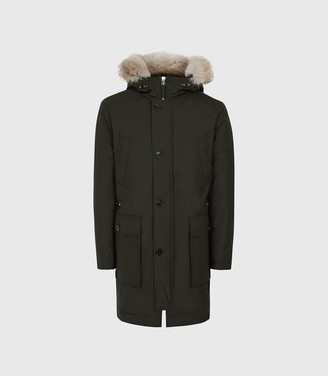 Reiss Pacific - Faux Fur Hooded Parka Coat in Khaki