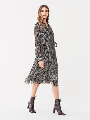 Diane von Furstenberg Antonette Chiffon-Blend Midi Shirt Dress