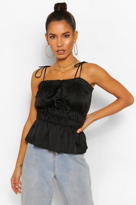 boohoo Hammered Satin Ruched Camisole Tan 10