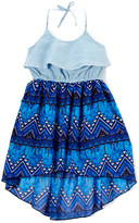 Dollhouse Light Blue Wash Geometric Hi-Low Dress - Girls