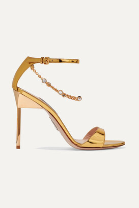 Miu Miu Embellished Mirrored-leather Sandals - Gold