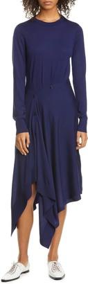 Sies Marjan Button Front Long Sleeve Merino Wool Sweater Dress