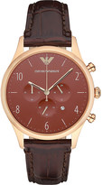 Emporio Armani AR1890 rose gold-plated and leather watch