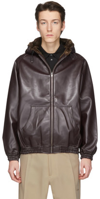 Random Identities Burgundy Faux-Leather Hoodie