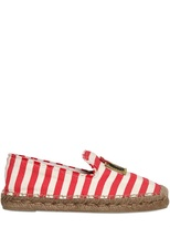 Marc Jacobs 20mm Striped Cotton And Rope Flats