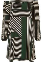 River Island Womens Green stripe bardot swing dress