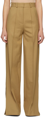 Rokh Tan Wool Tailored Wide-Leg Trousers