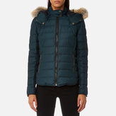 Belstaff Women's Avedon Short Quilted Jacket with Fur on Hood Slate Teal