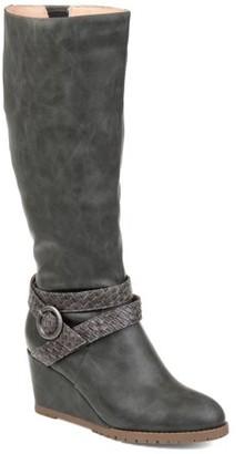 Brinley Co. Womens Comfort Braid Strap Wedge Boot