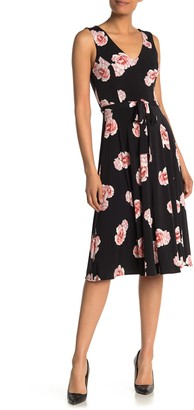 Tommy Hilfiger V-Neck Floral Print Jersey Fit and Flare Dress