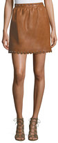 RED Valentino Studded Scalloped Lambskin Leather Skirt