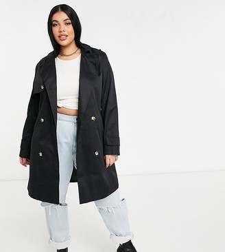 Asos DESIGN Curve trench coat in black