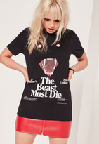 Missguided The Beast Must Die Graphic T-Shirt Black