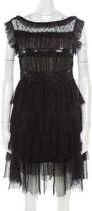 RED Valentino Black Tulle Embellished Sheer Yoke Detail Plisse Tiered Dress S