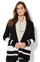 New York & Co. Striped Shawl-Collar Cardigan