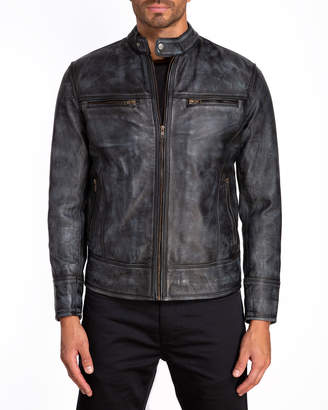 Jared Lang Men's Leather Moto Zip-Pocket Jacket