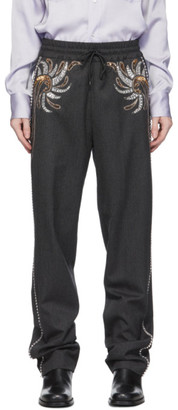 Dries Van Noten Grey Wool Rhinestone Trousers