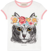 Gucci Short-Sleeve Cotton Jersey Cat Tee, White, Size 4-12
