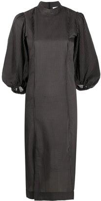 Ganni Gingham-Check Puff-Sleeve Seersucker Dress