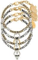 Rada' Radà 4 set of gemstone and ring embellished bracelets