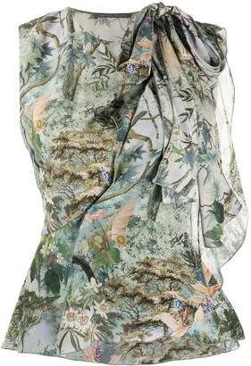 Alberta Ferretti Sleeveless Draped Detail Blouse