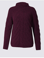 M&S Collection Chenille Cable Funnel Neck Jumper