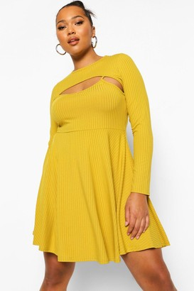 boohoo Plus Jumbo Rib Cut Out Skater Dress