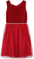 Speechless Glitter Velvet and Chiffon Dress, Big Girls (7-16)