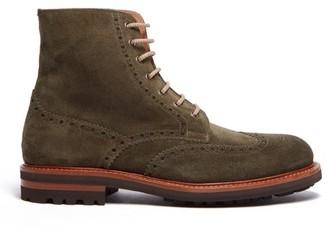 Brunello Cucinelli Suede Brogue Boots - Mens - Green