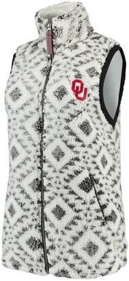 Women's Pressbox White Oklahoma Sooners Tribal Printed Poodle Fleece Vest