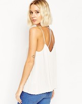 Asos Plunge Neck Pleated Cami Top With Strappy Back