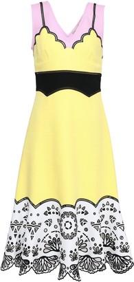 Emilio Pucci Color-block Broderie Anglaise-paneled Cotton Midi Dress