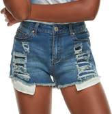 Almost Famous Juniors' High-Waisted Frayed Rip & Repair Denim Shorts