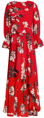 Mikael Aghal Ruffle-trimmed Floral-print Crepe De Chine Gown