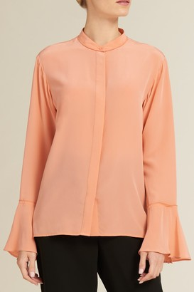 DKNY Bell Cuff Button Down Blouse