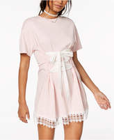 The Edit By Seventeen Juniors' Lace-Trim Corset T-Shirt Dress, Created for Macy's