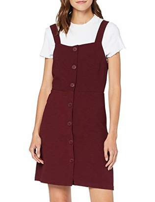 New Look Women's ELE Crepe Fitted BTN Pinny Dress,8 (Size:8)