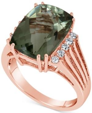 Macy's Green Quartz (7 ct. t.w.) & Diamond (1/5 ct. t.w.) Ring in 14k Rose Gold