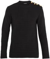 Balmain Button-shoulder wool sweater