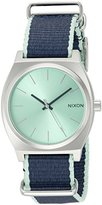 Nixon Women's A0452075 Time Teller Stainless Steel Watch with Navy Blue and Mint Green Band