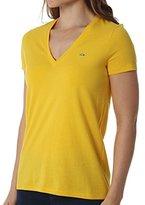 Lacoste Women's Short Sleeve Cotton Jersey V-Neck T-Shirt