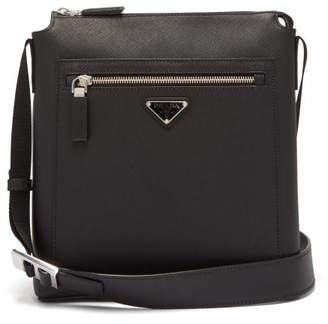Prada Logo-plaque Leather Messenger Bag - Mens - Black