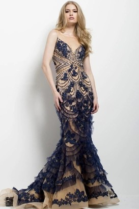 Jovani Beaded and Embroidered Mermaid Gown