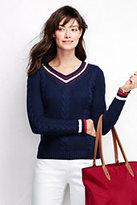 Classic Women's Petite Drifter Cricket V-neck Sweater-Ivory/Black Stripe