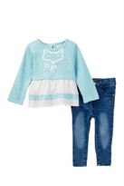 Jessica Simpson Marled French Terry Top & Denim Set (Baby Girls)